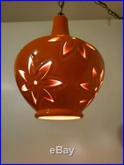 VTG Mid Century Modern Ceramic Swag Lamp Hanging Pendant 13 New Electrical
