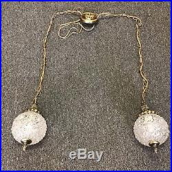 VTG Mid Century Modern Glass Double Globe Swag Chain Lamp Lights Hanging fixture