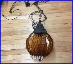VTG Mid Century Retro Amber / Rootbeer Glass Hanging Swag Lamp 10 Globe WORKING