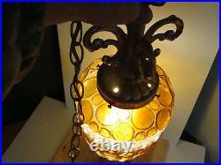 VTG Mid Century Retro Hanging Swag Light/Lamp White and Amber Unique Design