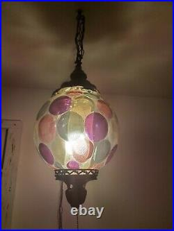 VTG Mid Century Swag Polk A Dot Lamp Glob With Diffuser Hanging Light REWIRED