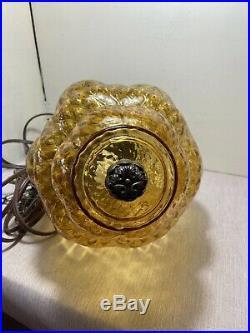 VTG Mid Century or Danish Modern Amber Optic Glass Swag Lamp Light 11' chain
