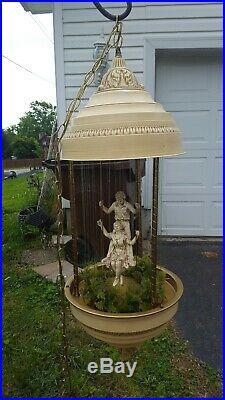 VTG Motion Mineral Oil Rain hanging Lamp Swinging Boy & Girl RARE MOVES WORKS