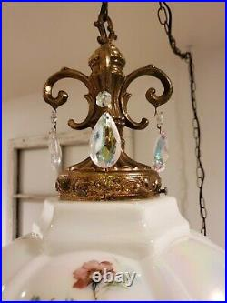VTG Opalescent Swag Light Flower Crystals Mid Century Hanging Lamp 2 AVAILABLE