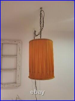 VTG Orange Pleated Drum Shade Swag Lamp Barrel Hanging Light Mid Century Plug In
