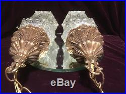 VTG. PR. OF Mid Century Hollywood Regency Hanging Swag Light Lamps 50-60's