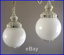 VTG Pair Double Swag Hanging Glass Globe Ceiling Fixture Lamps Art Deco Lights