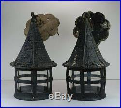 VTG Pair Hanging Pendant Electric Lamps Lanterns Architectural Salvage Lighting