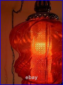 VTG Red Glass Swirl Globe Swag Hanging Light Mid Century Lamp PLEASE READ DESCR