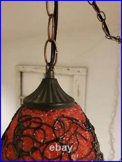 VTG Red Hanging Lamp Spaghetti Spun Lucite Black Accent Mid Century 2 AVAILABLE