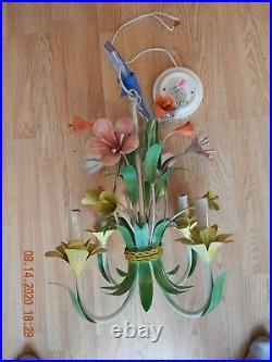 VTG SHABBY CHIC ITALIAN METAL TOLE 4 Arm FLOWERS CHANDELIER LAMP