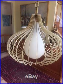 VTG Secto George Nelson Style Hanging Swag Pendant Metal Lamp Light Teardrop