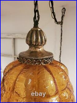 VTG Swag Hanging Light Amber Crackle Bubble Glass Mid Century Plug Lamp REWIRED