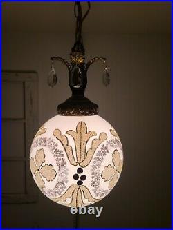 VTG Swag Hanging Light Hand Painted Gold Mid Century Regency Glam Lamp Plug In