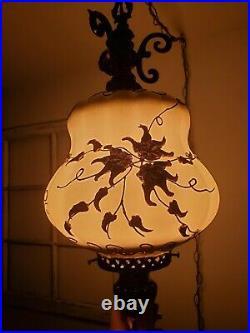 VTG Swag Hanging Light Raised Metal Flower Mid Century Regency Glam Lamp Plug In