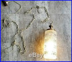 VTG Swag Lamp Light Chandelier Hanging Hollywood Regency Cut Glass Cast Metal