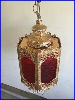 VTG Swag Light Large Mid Century Retro Gothic Spanish/Tudor Hanging Lamp