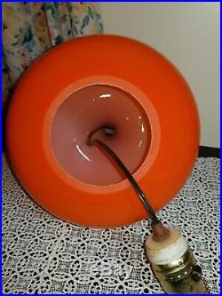 VTG Teak Danish / Swedish Modern Hanging Swag Orange Lamp Glass w Spacer 4 bulb