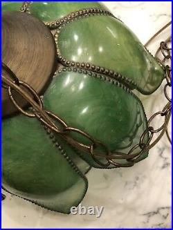 VTG Tulip Swag Lamp Lotus Boho MCM Retro 1960s Green Chain Hanging Flower Light