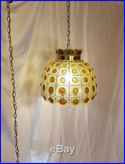 VTG Unique Retro Artisan Hanging Swag Light Fixture/Lamp, Glass Panels