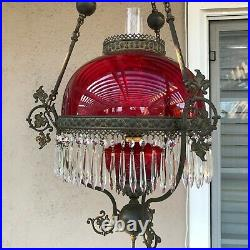 VTG Victorian Hanging Library Oil Lamp withRuby Red Glass Shade, 59 Prisms, 38 H