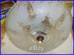 VTG frosted glass art deco light fixture ceiling chandelier hanging lamp 14