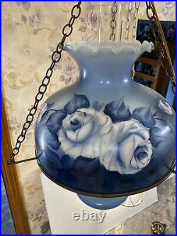 VTg 36 HANGING SWAG GONE WITH THE WIND HURRICANE VICTORIAN LAMP Light Blue ROSE