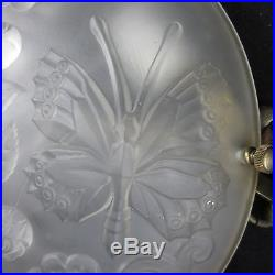 Verlys Vintage FRENCH Hanging LAMP Glass ROSES BUTTERFLIES 2 Lights BRASS 3 ARMS