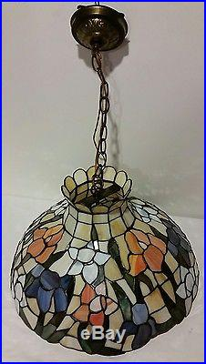 Very Large Vintage Stained Glass Hanging Lamp 20 Diameter Tiffany Style