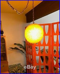 ViNTaGE Orange Mid Century Modern 13 Spaghetti Globe Lucite Hanging Swag Lamp