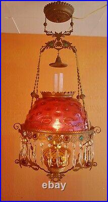 Victorian Jeweled Hanging converted Oil Parlor Lamp cranberry Bullseye shade