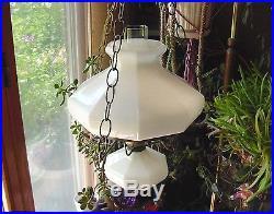 Vintage 10White Milk Glass Paneled Shade Font Hanging Hurricane Swag Lamp Light