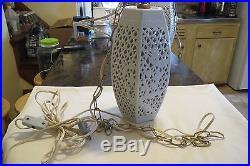 Vintage 1940-50's Porcelain & Brass Hanging Lamp Asian Pierced Ginger Jar Works