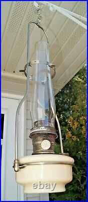 Vintage 1940s Aladdin #12 Alacite Hanging Oil Kerosene Lamp Chimney & Frame