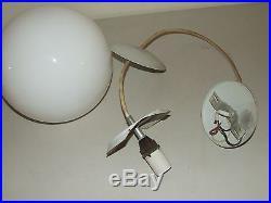Vintage 1950's Mid Century Modern Orb Pendant Globe Full Moon Hanging Lamp Light