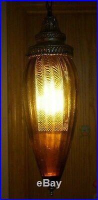 Vintage 1950s 60s Era MCM Electric Hanging Swag Lamp With Amber Glass Shade