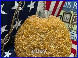 Vintage 1950s Gold Spaghetti Strand Ball Light Mid-Century Modern Hanging Lamp