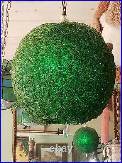 Vintage 1950s MCM Spaghetti Green Hanging Lamp 14 Groovy Retro