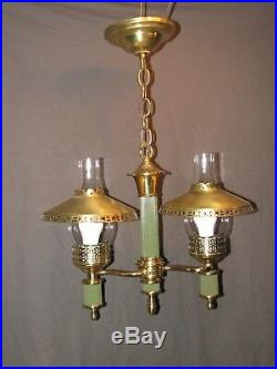 Vintage 1951 Pendant Hanging Swag Brass Glass Lamp Light Fixture RESTORED Green