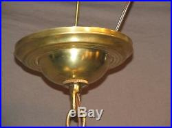 Vintage 1951 Pendant Hanging Swag Brass Glass Lamp Light Fixture RESTORED Green