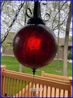 Vintage 1960'-70's Ruby Red Swag Glass Hanging Lamp Light Lite