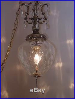 Vintage 1960 Swag Hanging Lamp Light Chandelier Crystal Prisms