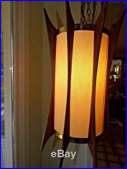 Vintage 1960's Danish Modern Mid Century Hanging Ceiling Swag Lamp Light Fixture