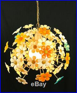 Vintage 1960's Swag Hanging Flower Daisy Ceiling Light Fixture Lamp