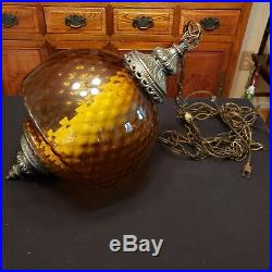 Vintage 1960s Large Amber Glass & Brass Hanging Swag Chain Lamp Light WORKS