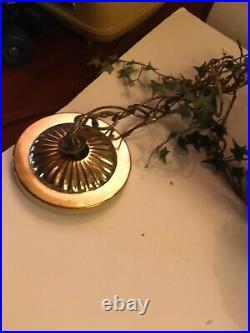 Vintage 1960s Metal Ornate Lantern Swag Lamp Light Hollywood Regency