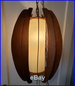 Vintage 1960s Mid Century Danish Modern LARGE Teak Swag Hanging Cylinder Lamp