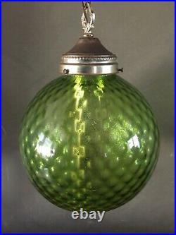 Vintage 1960s Mid Century Green Glass Globe Hanging Swag Lamp Light