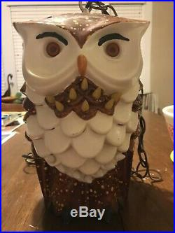 Vintage 1960s Mid Century Owl Ceramic Lamp Hanging Swag Light 11 Tall