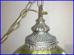 Vintage 1960s Mid Century Retro Green Glass Globe Hanging Swag Lamp